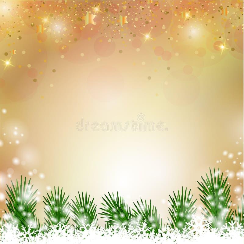 美妙的金子闪烁的圣诞节背景 向量例证