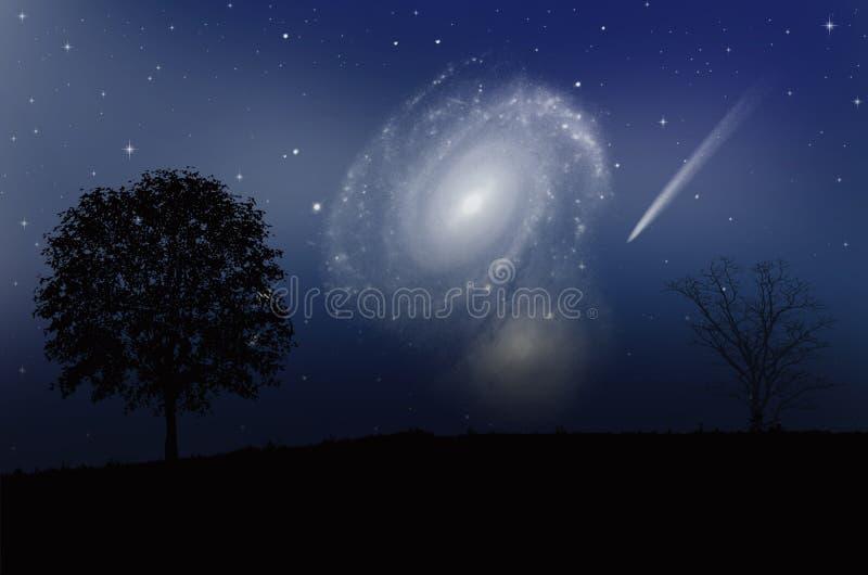 美妙的银河和彗星与明亮的星在蓝天 免版税库存图片