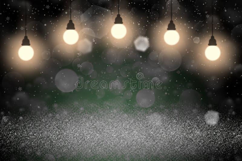 美妙的闪耀的闪烁点燃与电灯泡的defocused bokeh摘要背景,并且落的雪剥落飞行,节日嘲笑 库存例证
