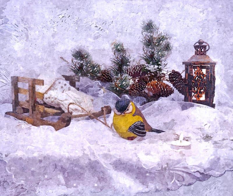 美妙的除夕 欲望的施行 仍然圣诞节生活 在纸的绘的湿水彩 天真艺术 抽象派 皇族释放例证