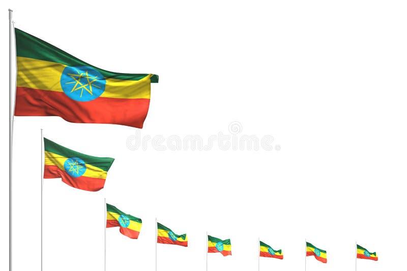 美妙许多埃塞俄比亚旗子在与地方的白色安置了被隔绝的对角线文本的-所有假日旗子3d例证 库存例证