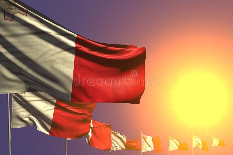 美妙许多马耳他旗子在与地方的日落安置了对角您的内容的-所有假日旗子3d例证 库存例证