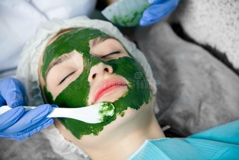 美容师做一个治疗温泉面具 库存图片