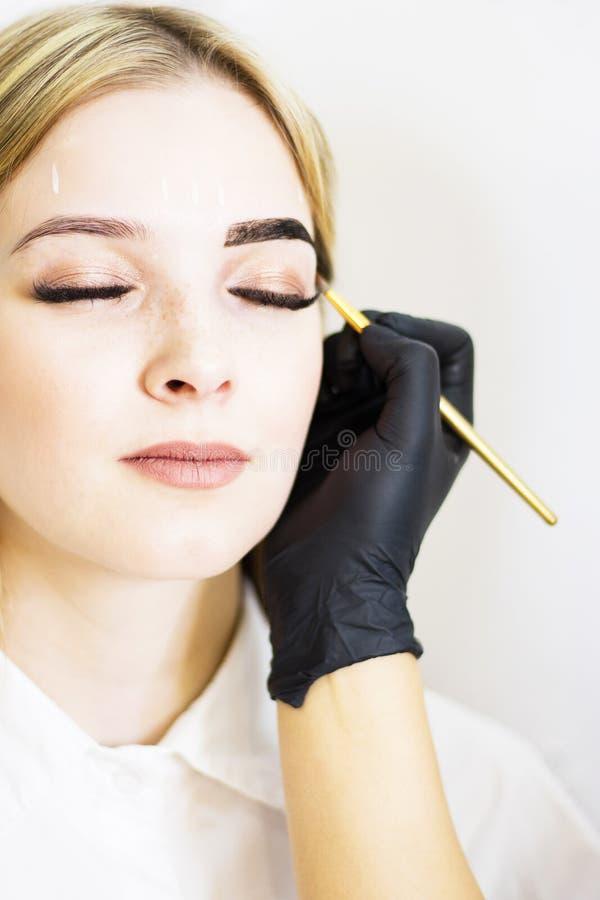 美容师在发廊执行在一个美好的模型的眼眉更正 女孩是白肤金发的 r 无刺指甲花洗染 库存图片
