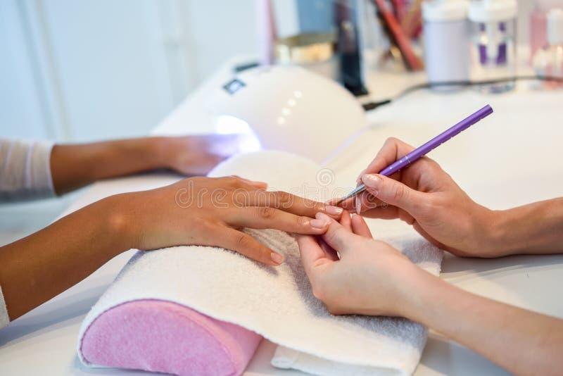 美容师特写镜头与刷子的绘的妇女` s钉子 库存图片