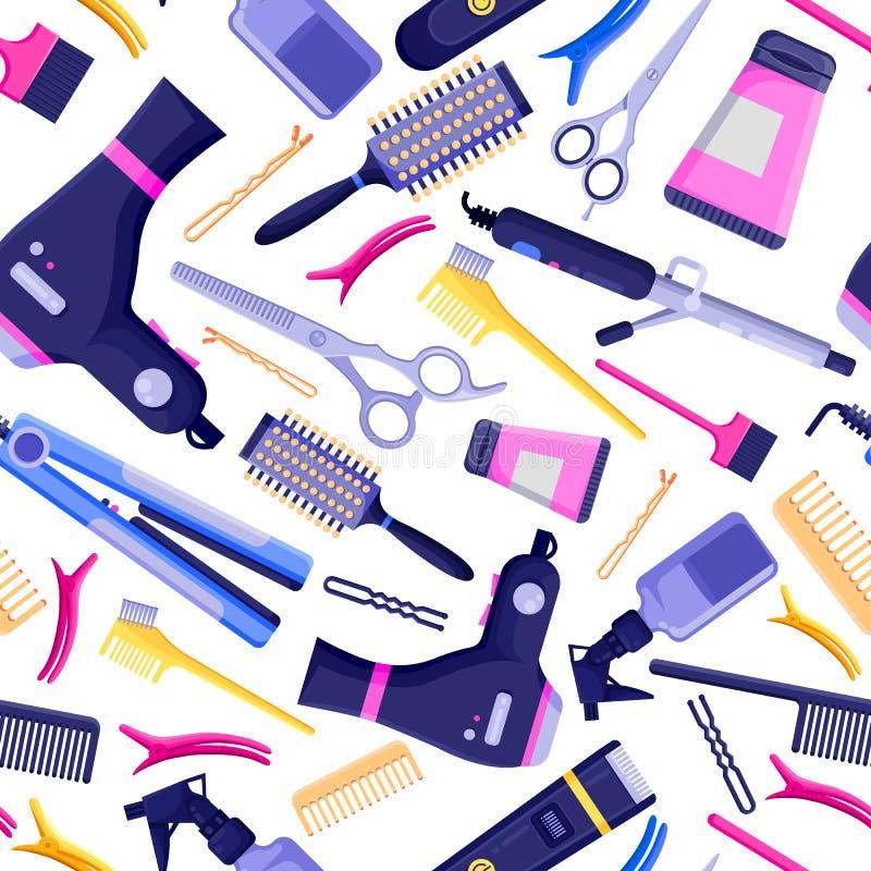 美容院传染媒介无缝的样式 五颜六色的头发美发师工具和设备 向量例证