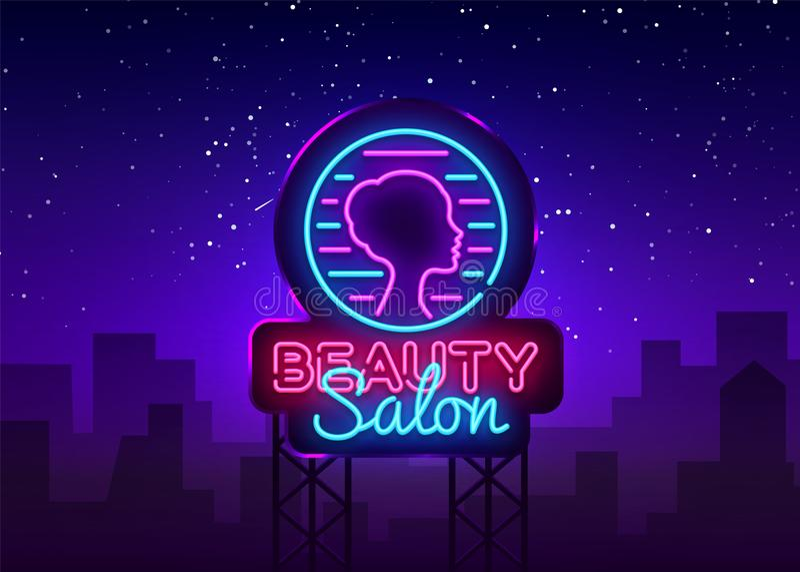 美容院标志传染媒介设计模板 美容院霓虹商标,轻的横幅设计元素五颜六色的现代设计 皇族释放例证