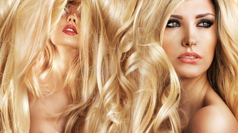 美容院的两个可爱的白肤金发的夫人 库存照片