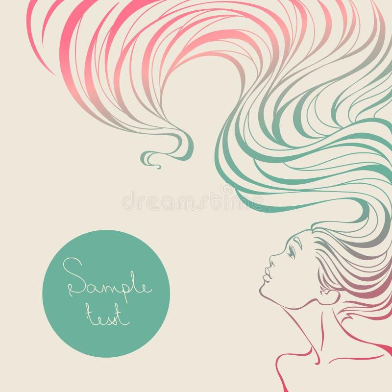 美容院的卡片与有长的波浪发的美丽的女孩 库存例证