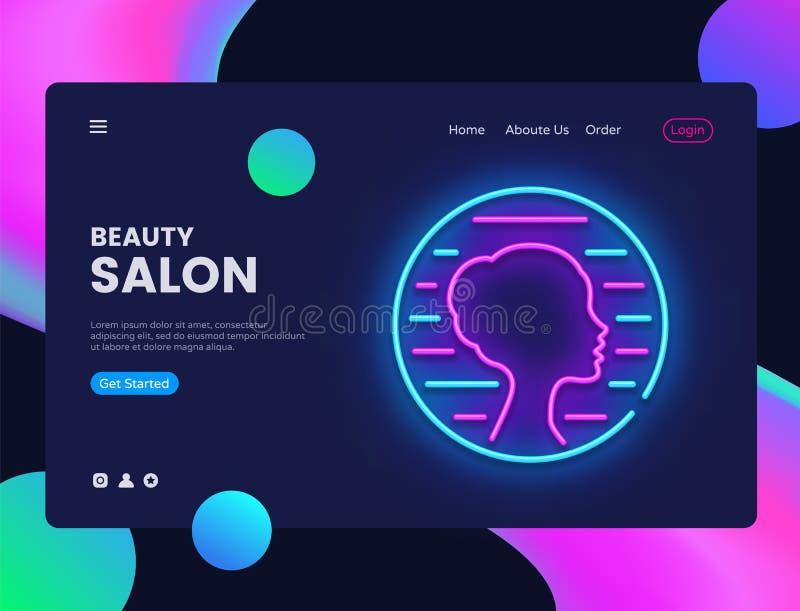 美容院霓虹创造性的网站模板设计 导航例证网站和流动apps的美容院概念 向量例证