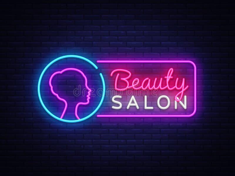 美容院霓虹灯广告传染媒介 美容院设计模板霓虹灯广告,轻的横幅,霓虹牌,每夜明亮 皇族释放例证