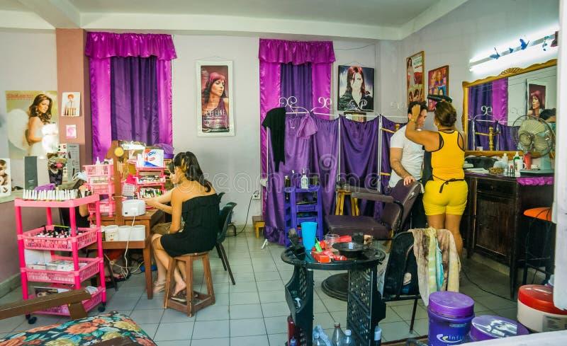 美容院,圣克拉拉,古巴 免版税图库摄影