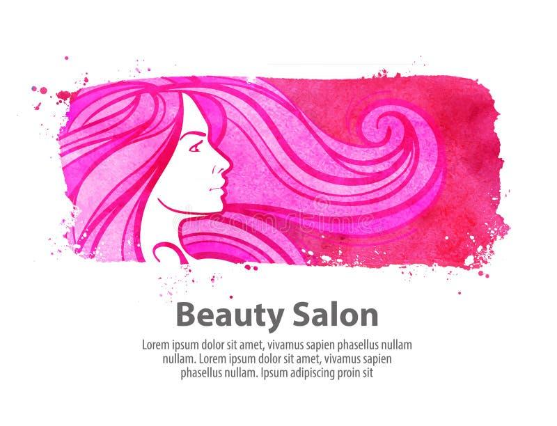 美容院,沙龙传染媒介商标设计模板 化妆用品、构成或者理发店象 库存例证