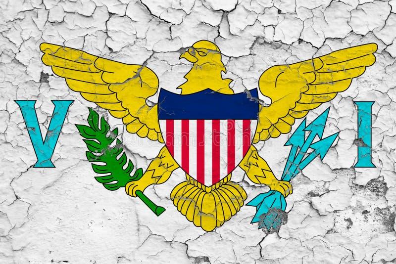 美属维尔京群岛的旗子在破裂的肮脏的墙壁上绘了 葡萄酒样式表面上的全国样式 皇族释放例证