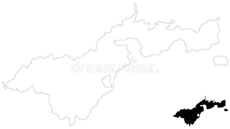 美属萨摩亚地图-位于南太平洋的美国的未组成社团的疆土,在萨摩亚东南部 库存例证