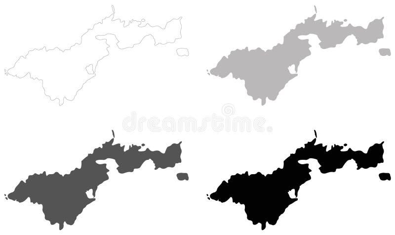 美属萨摩亚地图-位于南太平洋的美国的未组成社团的疆土,在萨摩亚东南部 向量例证