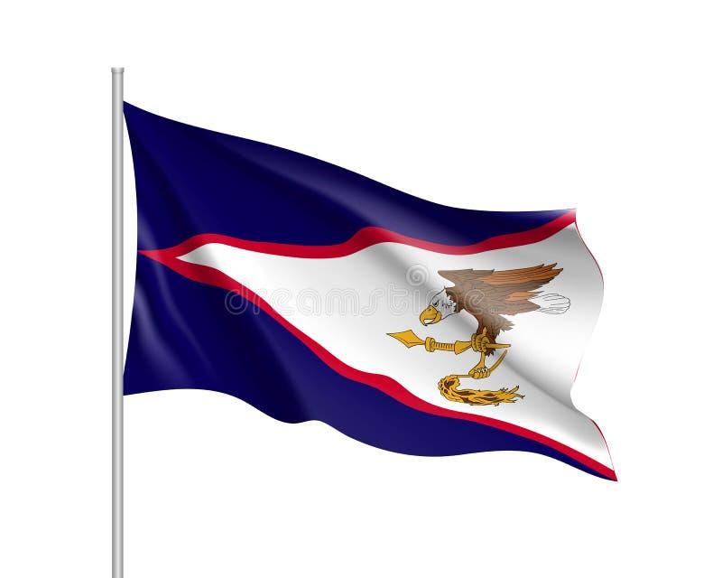 美属萨摩亚的挥动的旗子 库存例证