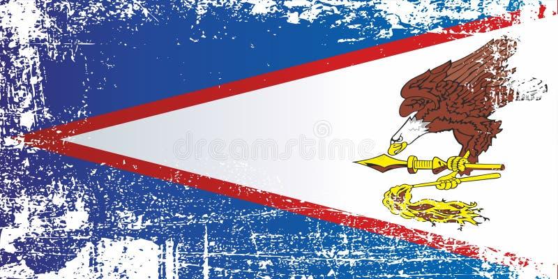 美属萨摩亚的旗子 起皱纹的肮脏的斑点 库存例证