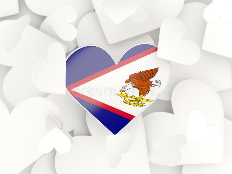 美属萨摩亚,心形的贴纸的旗子 皇族释放例证