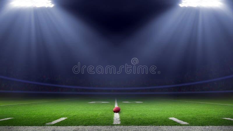 美式足球体育场低角度领域视图 免版税库存图片