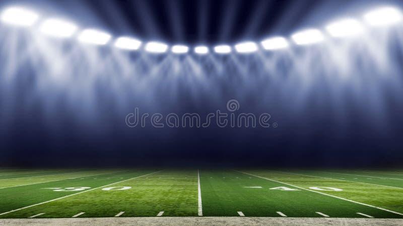 美式足球体育场低角度领域视图 免版税库存照片