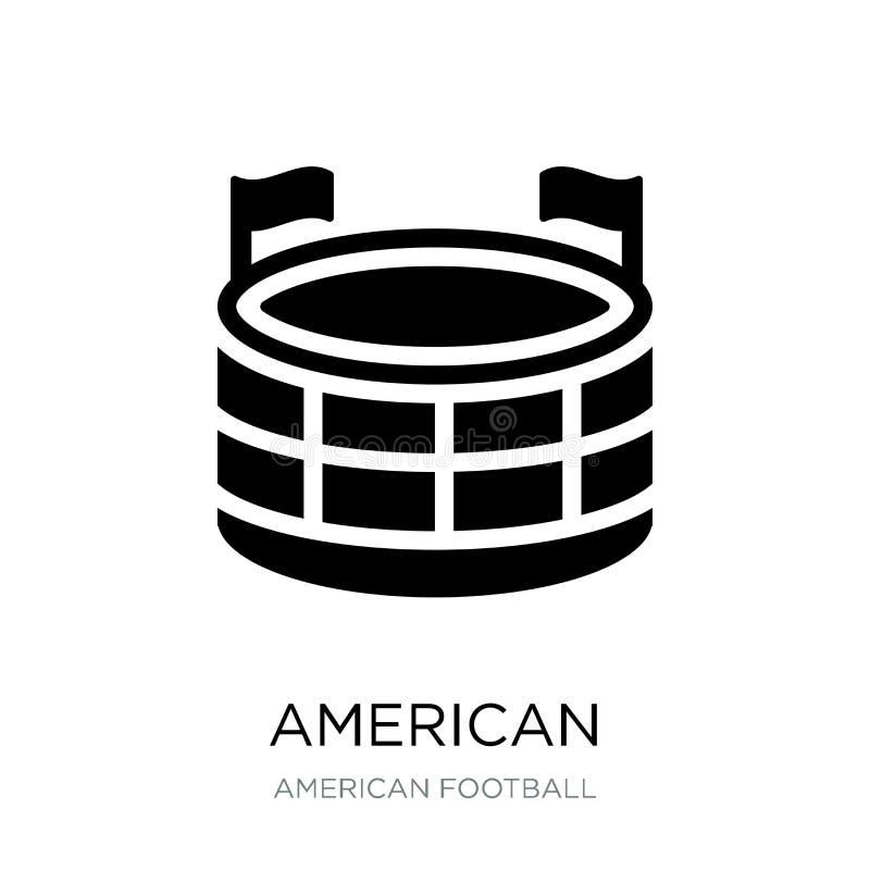美式足球在时髦设计样式的体育场象 橄榄球在白色背景隔绝的体育场象 大使 向量例证