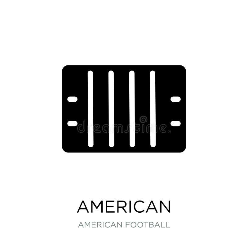 美式足球橄榄球场在时髦设计样式的顶视图象 橄榄球领域在白色背景隔绝的顶视图象 向量例证