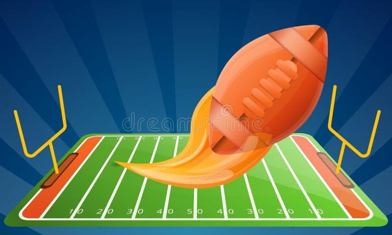 美式足球现代设备概念横幅,动画片样式 库存例证