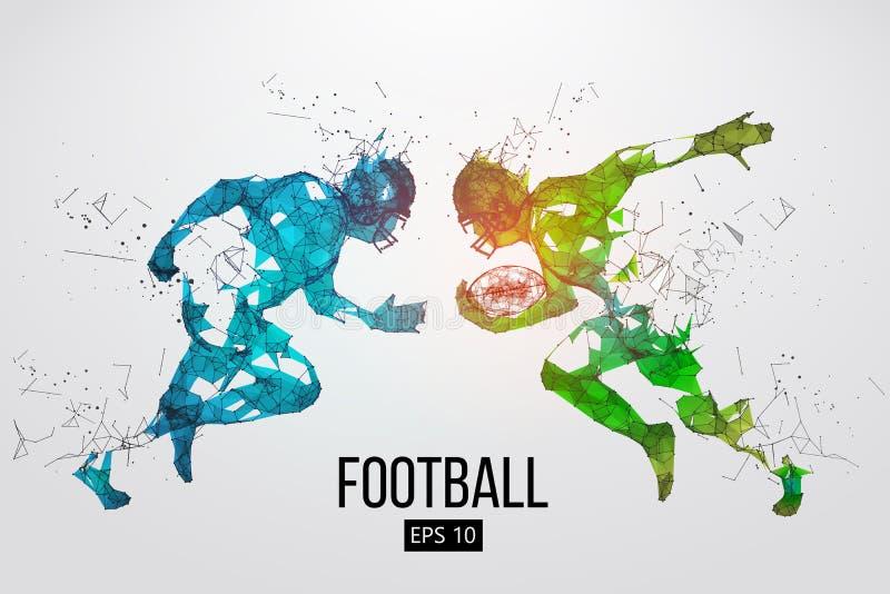 美式足球球员微粒、线和三角的剪影在背景 橄榄球 也corel凹道例证向量 库存例证