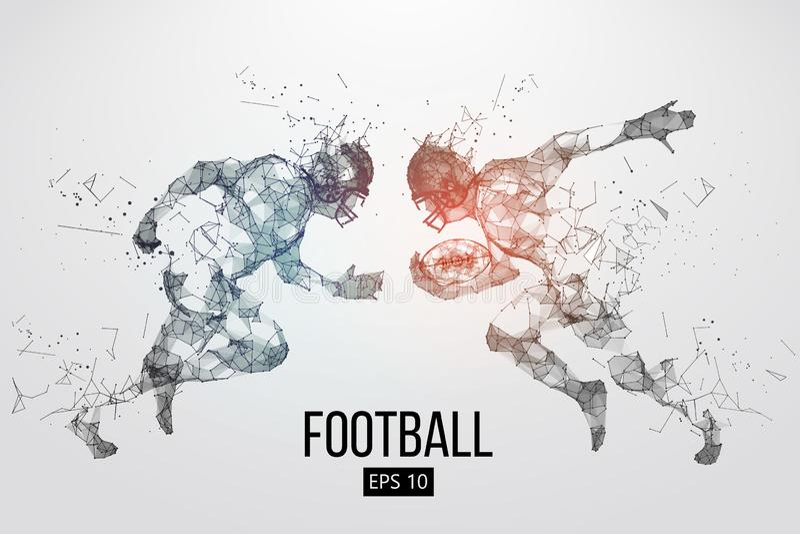 美式足球球员微粒、线和三角的剪影在背景 橄榄球 也corel凹道例证向量 皇族释放例证