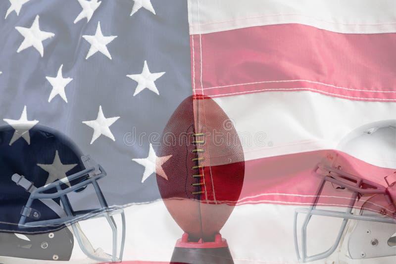 美式足球的综合图象在发球区域的由体育盔甲 免版税图库摄影