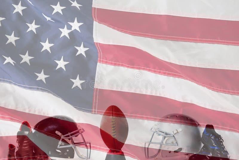美式足球的综合图象在发球区域的由运动鞋和盔甲 库存图片