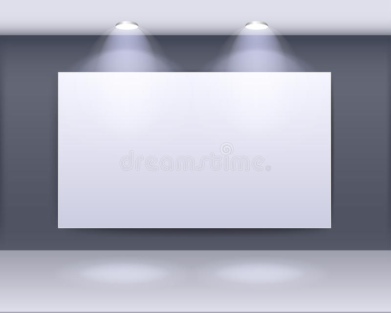 美术画廊与聚光灯的框架设计 向量例证