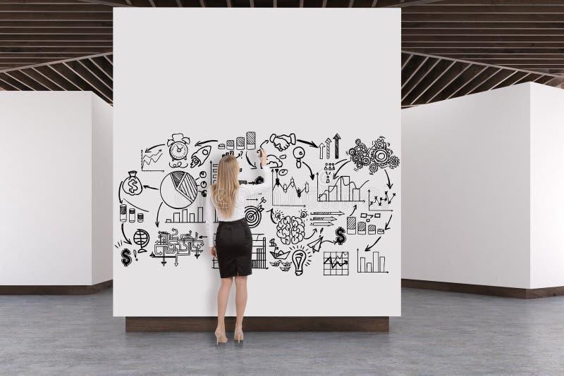 美术画廊水泥地板,木天花板,计划 免版税图库摄影