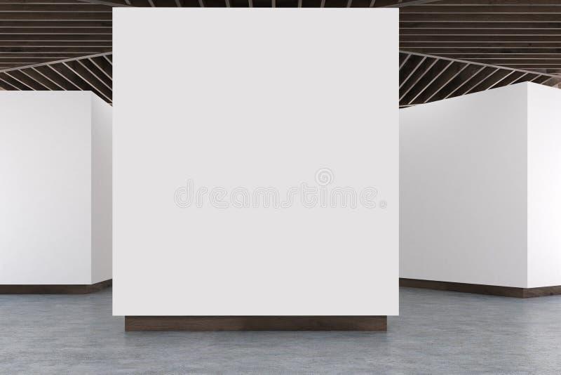 美术画廊水泥地板,木天花板 向量例证