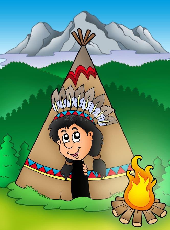 美洲印第安人当地圆锥形帐蓬 向量例证