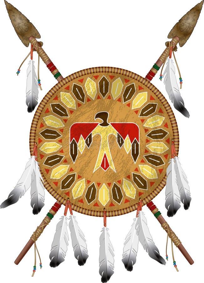 美洲印第安盾和矛 向量例证