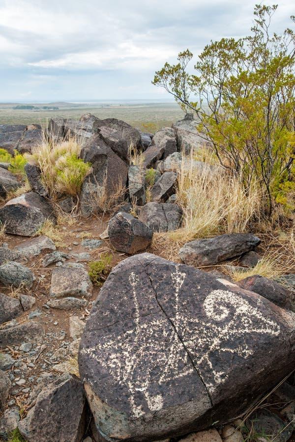 美洲原住民Bighorn岩石字形 库存照片