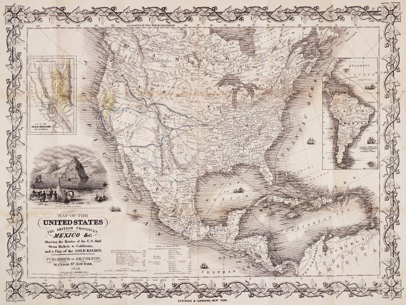 美洲古色古香的映射美国 库存照片