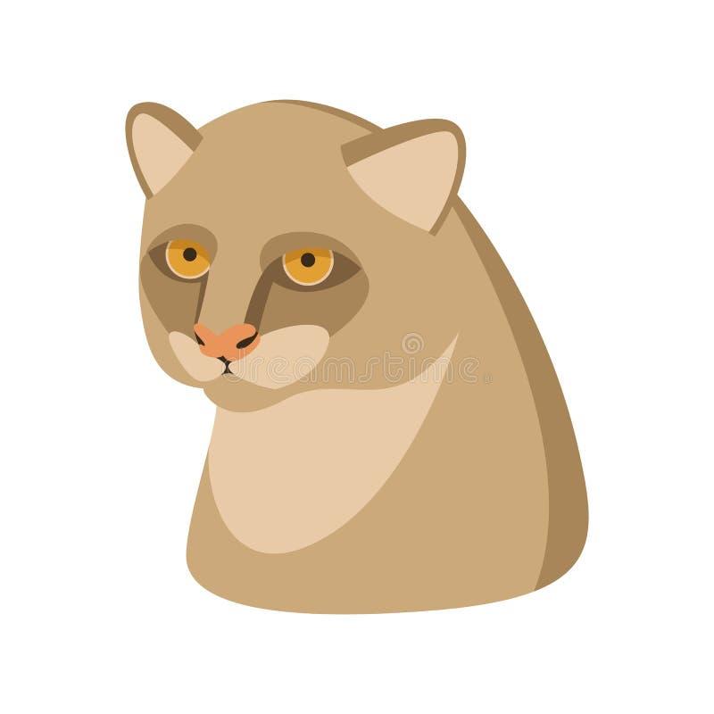 美洲山猫顶头传染媒介例证平的样式外形. 改良, 摆在.
