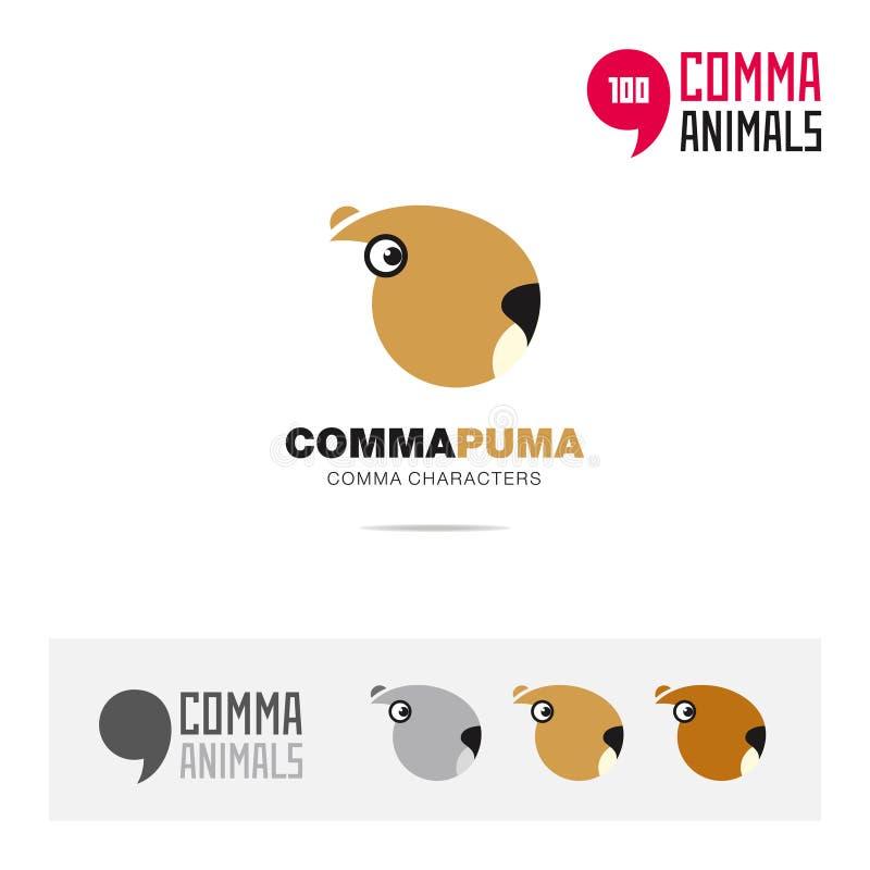 美洲狮动物概念象集合和现代品牌身份商标模板和根据逗号的app标志签字 向量例证