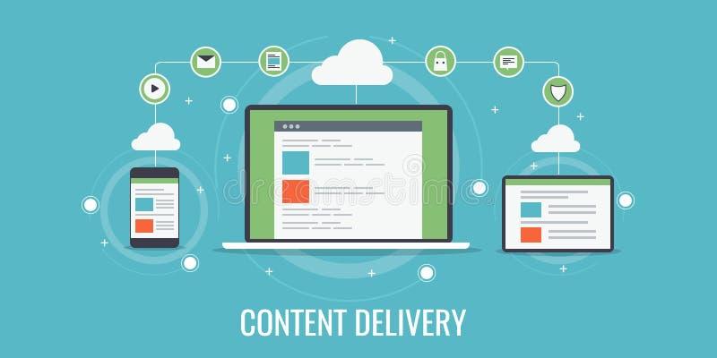 美满的交付,网络,数据分享,发行,数字式设备技术概念 向量例证