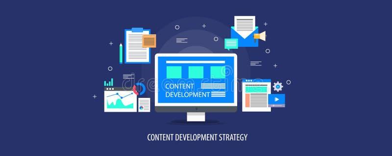 美满的发展战略,数据分析,在不同的媒介平台的美满的营销,录影,电子邮件,网站概念 皇族释放例证