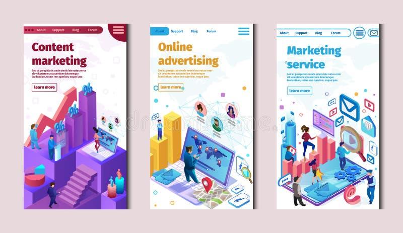 美满的市场服务和网上广告 向量例证