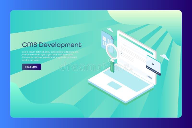 美满的管理系统、cms、营销和通信概念,网横幅模板的等量设计观念 向量例证