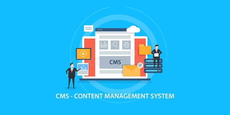 美满的管理系统,cms,有美满的软件的人们的平的设计观念 向量例证