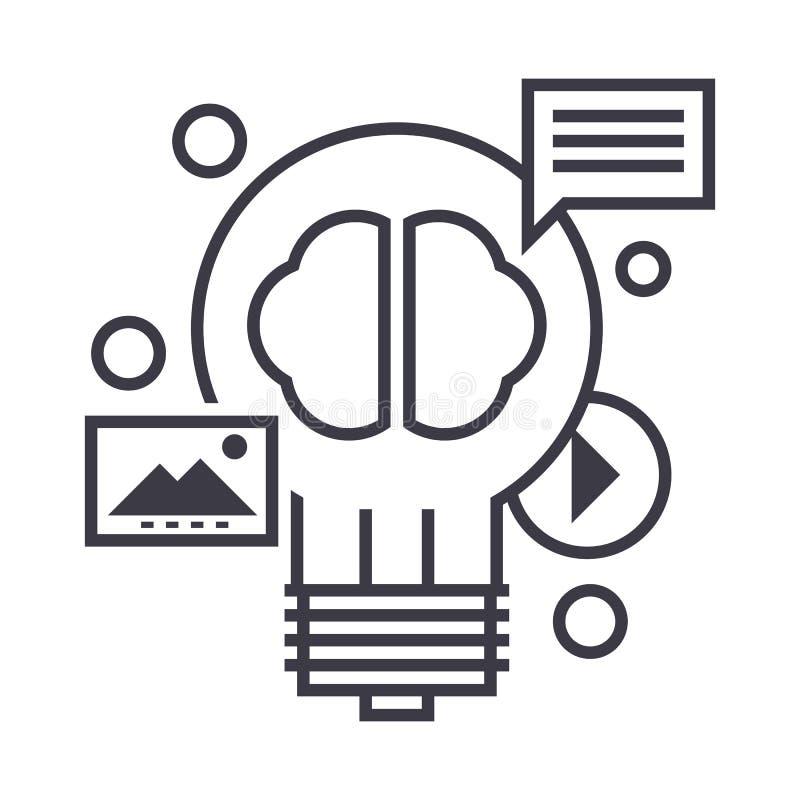 美满的营销传染媒介线象,标志,在背景,编辑可能的冲程的例证 库存例证