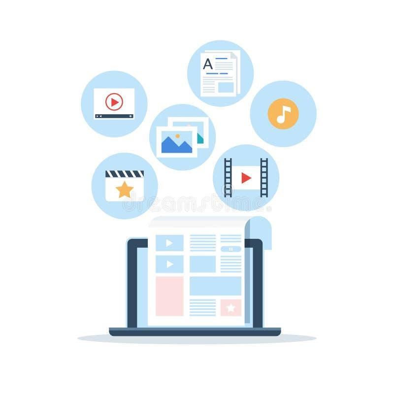 美满的营销, Blogging和SMM概念在平的设计 博克页用内容填好  文章和媒介 皇族释放例证