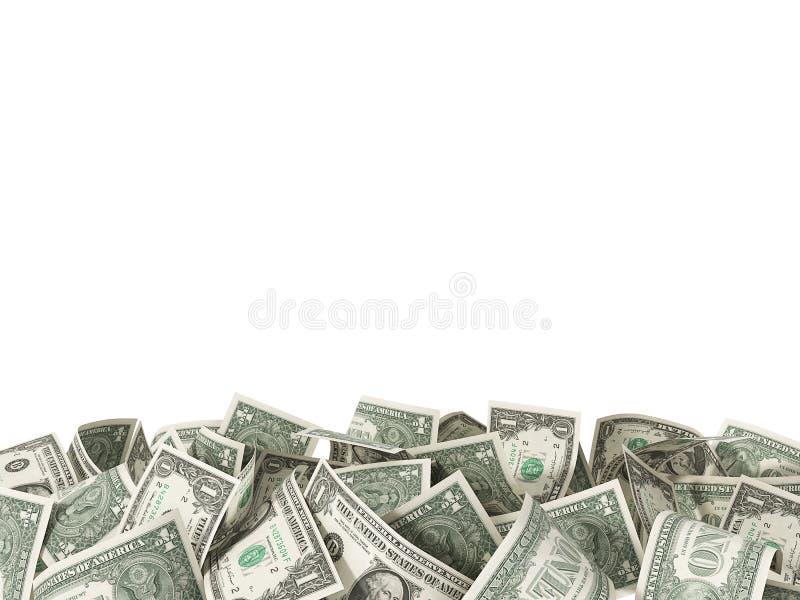 1美金堆在白色背景的 向量例证