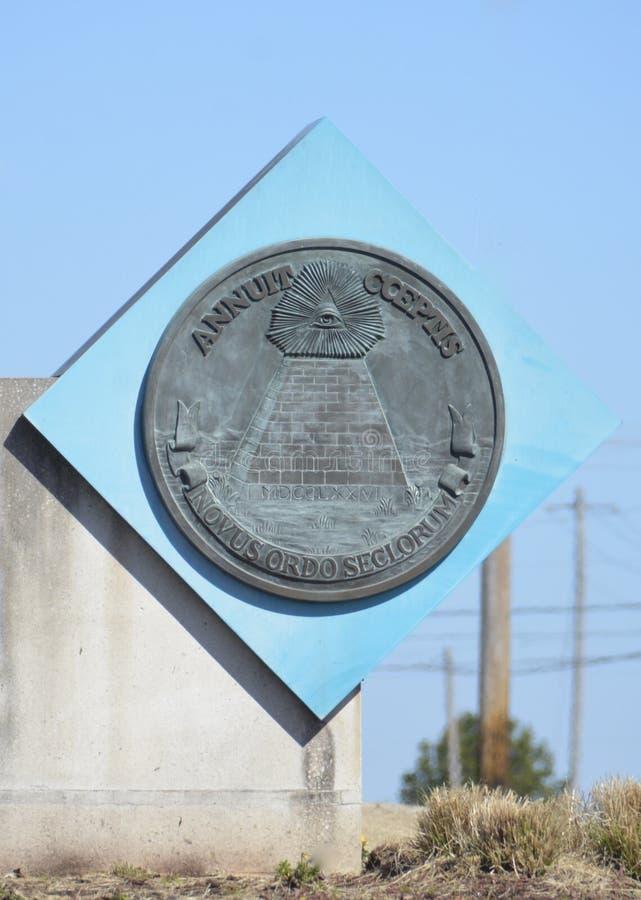 美金美利坚合众国的金字塔封印 免版税库存照片